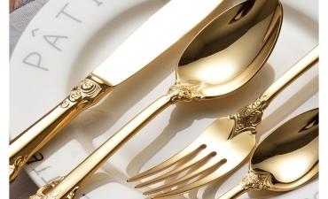 Bộ đồ ăn mạ vàng18k - Quà tặng gia dụng sang trọng